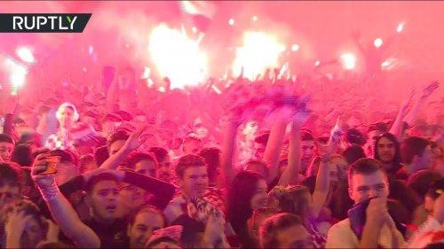 С огоньком: болельщики в центре Загреба после победного гола сборной Хорватии  - (ВИДЕО)